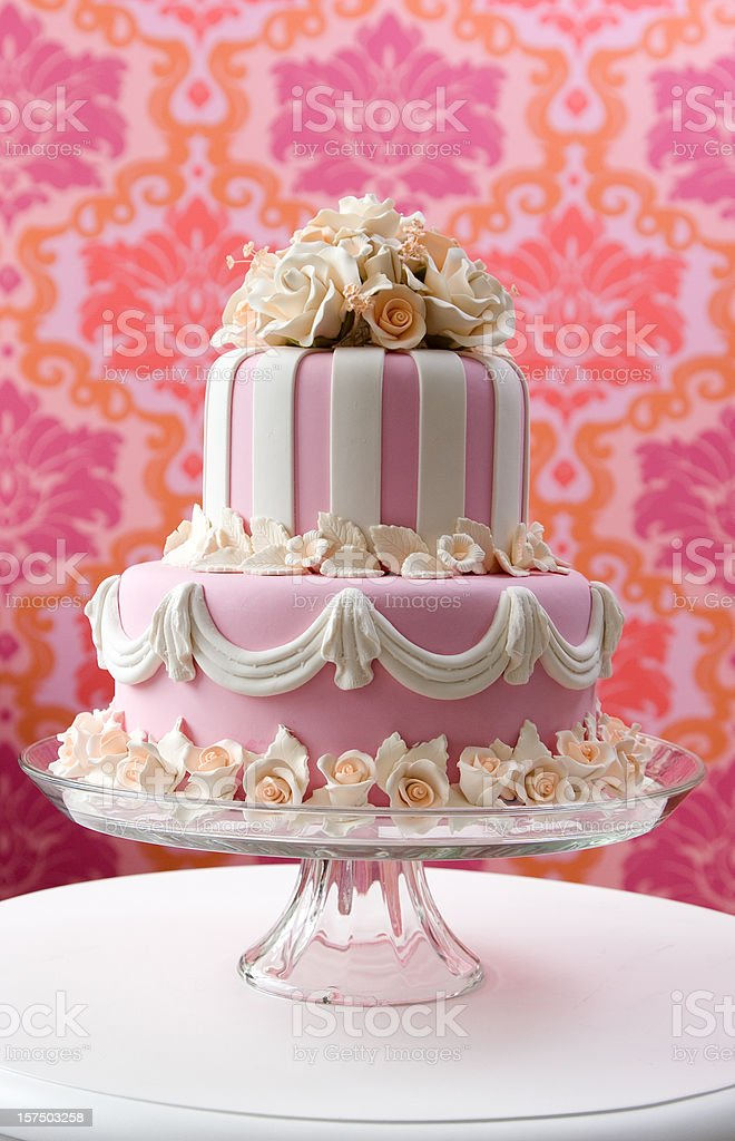 Pink Flower Cake stock photo