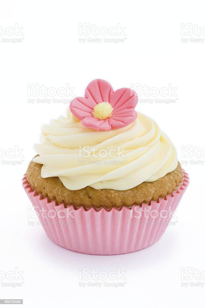 Pink flower cupcake royalty-free stock photo