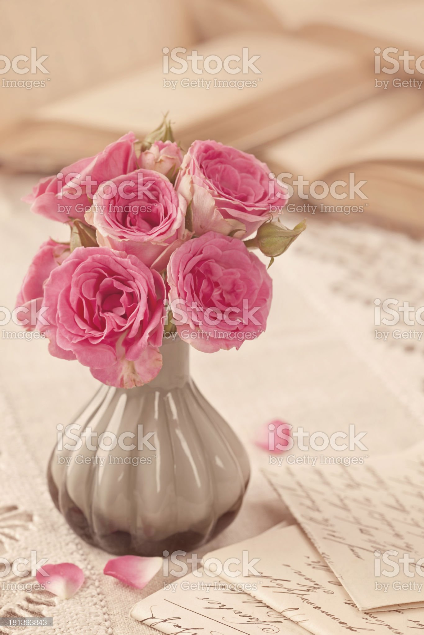 Pink flowers, letters and books royalty-free stock photo