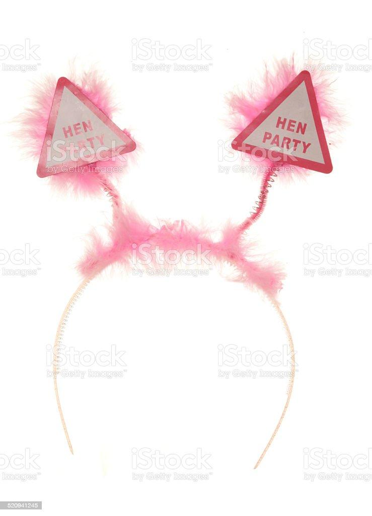 pink fluffy hen party headband stock photo