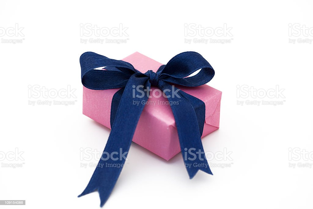 pink gift box with blue bow royalty-free stock photo