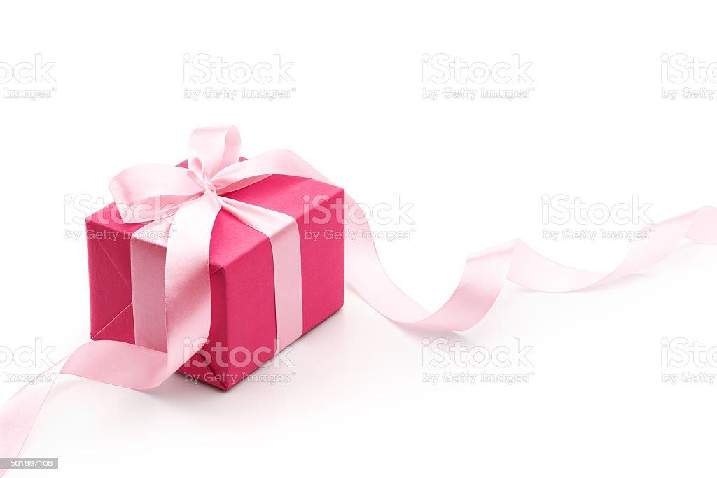 Pink Gift Box With Ribbon stock photo