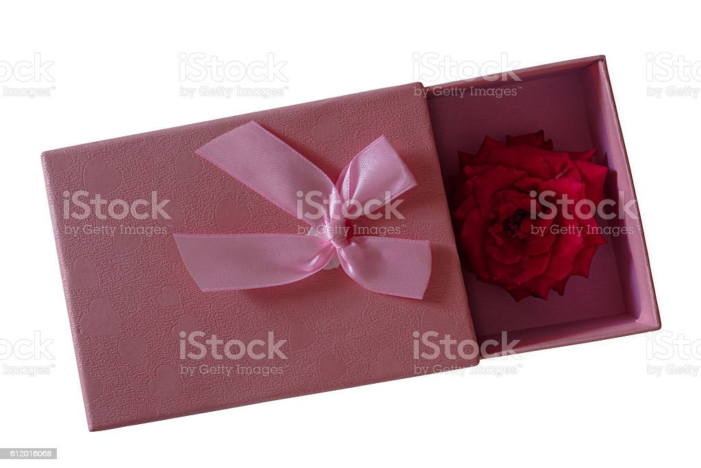 Pink gift box with rose against white stock photo