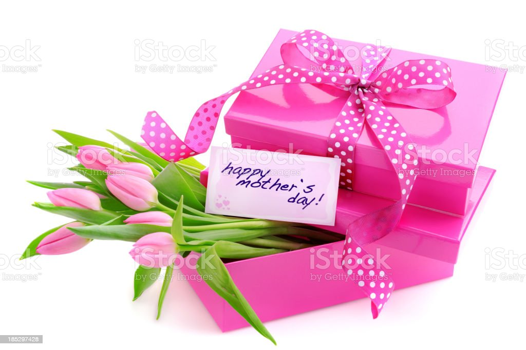 Pink gift boxes with a mothers day card and tulips royalty-free stock photo