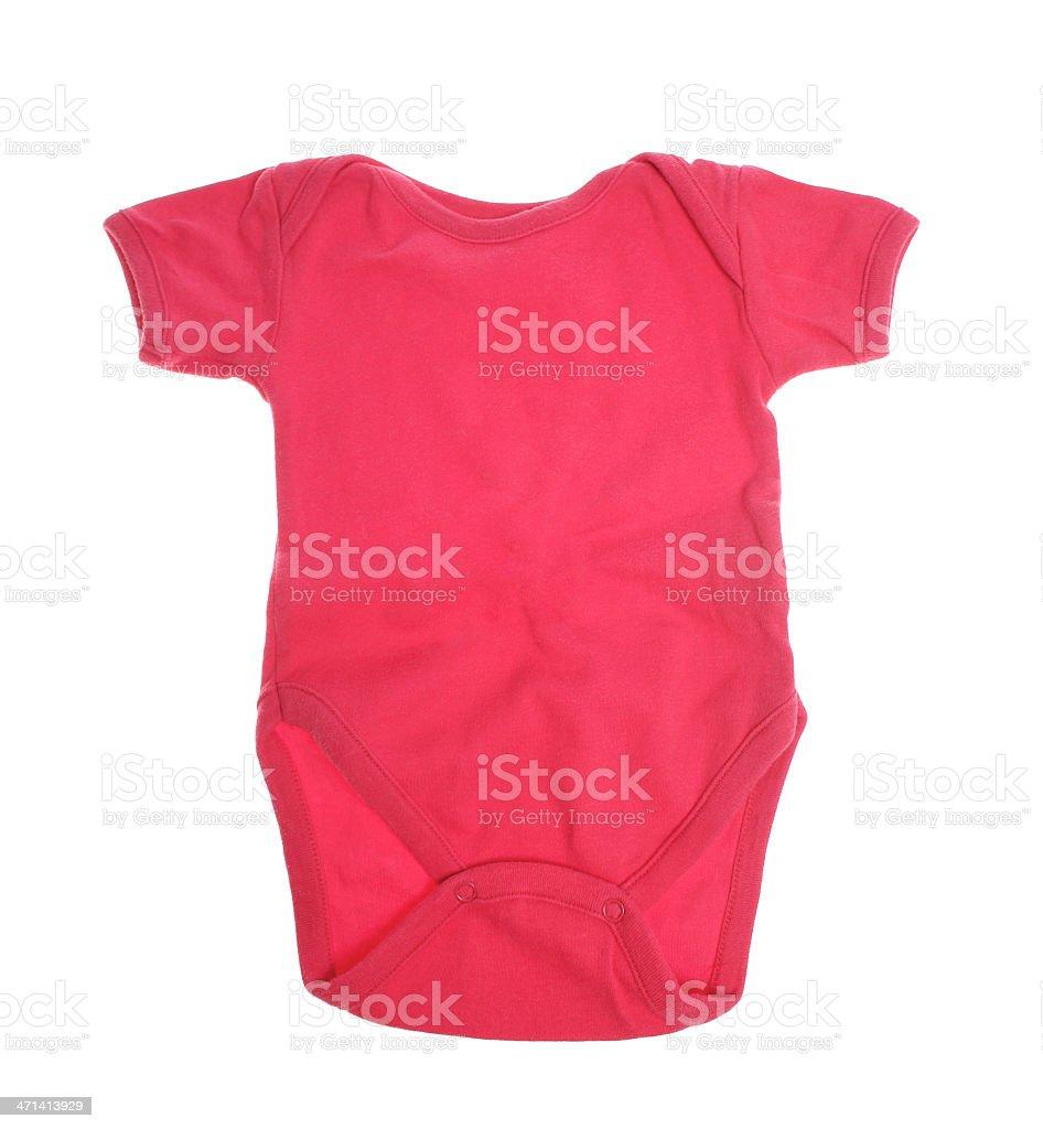 Pink girl baby onesie on white stock photo