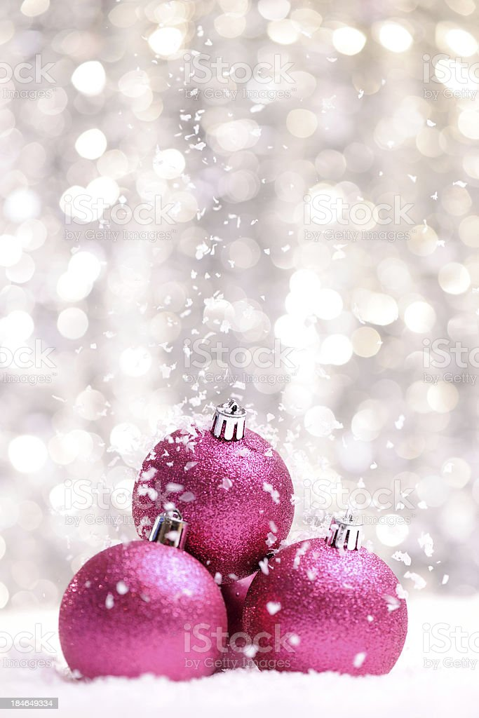 Pink glitter christmas balls royalty-free stock photo