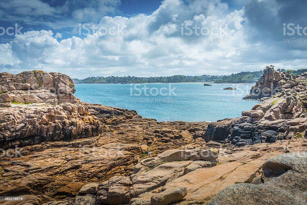 Pink Granite Coast, Britanty stock photo