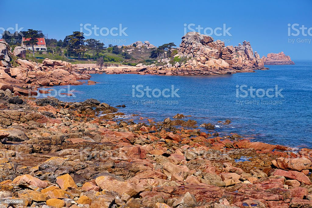 Pink granite coast in Brittany, France stock photo