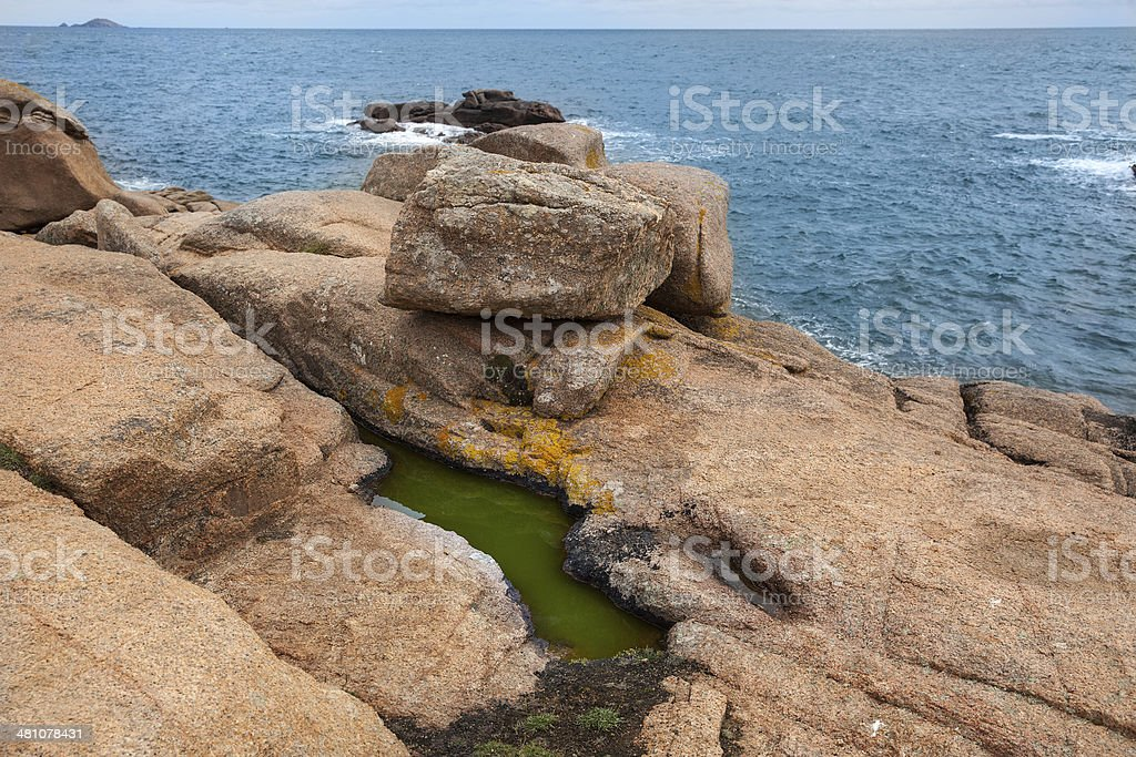 Pink granite coast Ploumanach stock photo