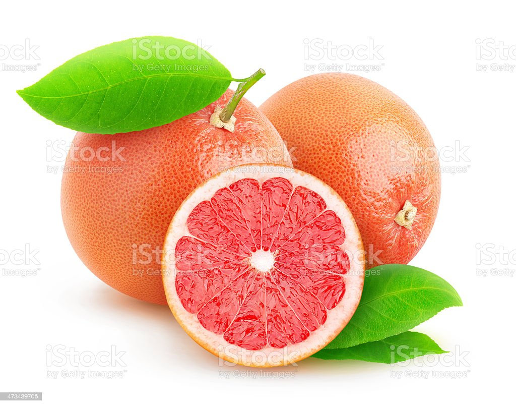 Pink grapefruits isolated on white stock photo