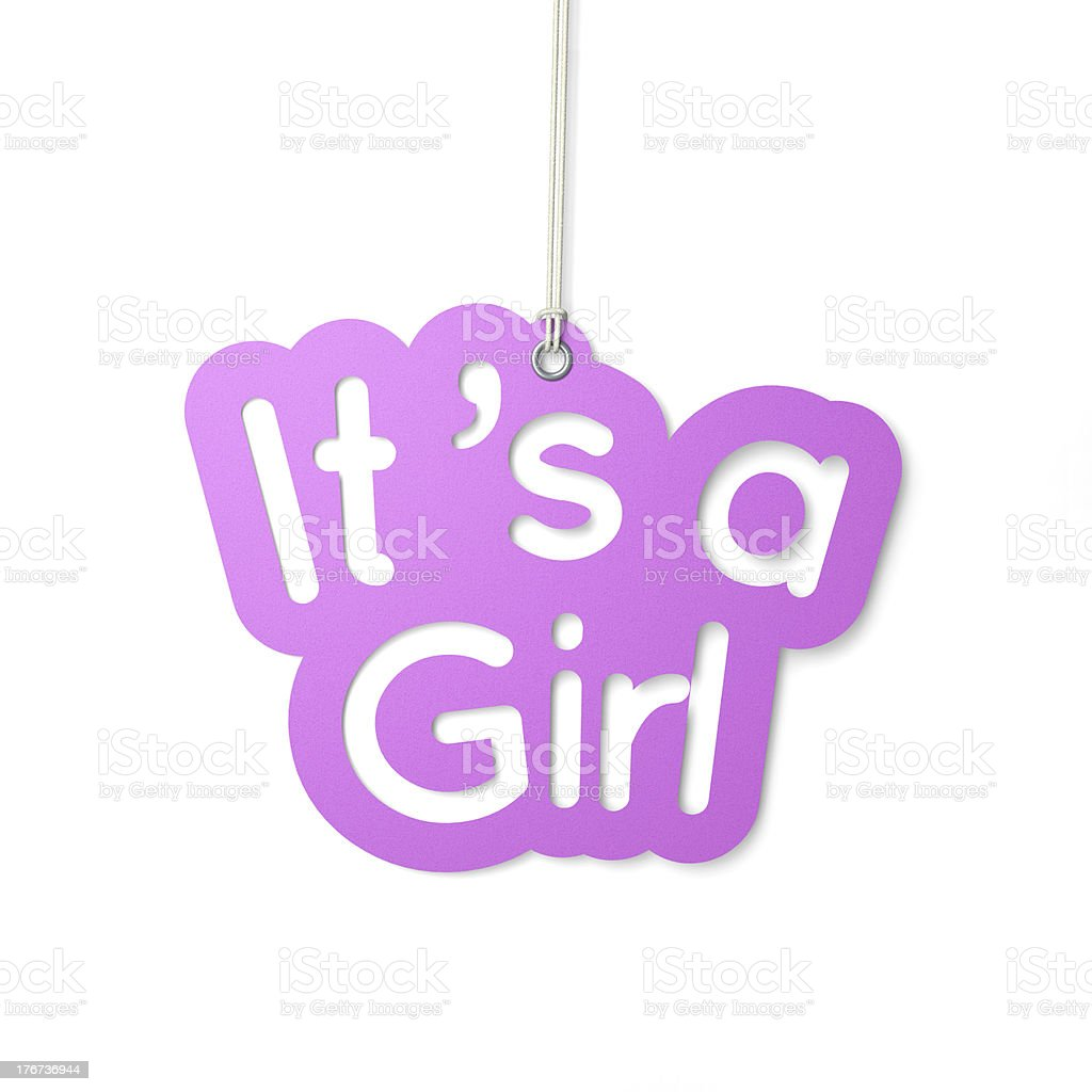 A pink graphic of a hanging 'it's a girl' sign royalty-free stock photo
