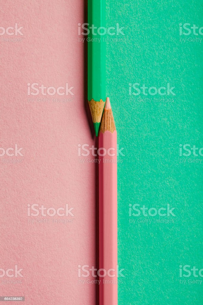 Pink Green Crayons Background stock photo