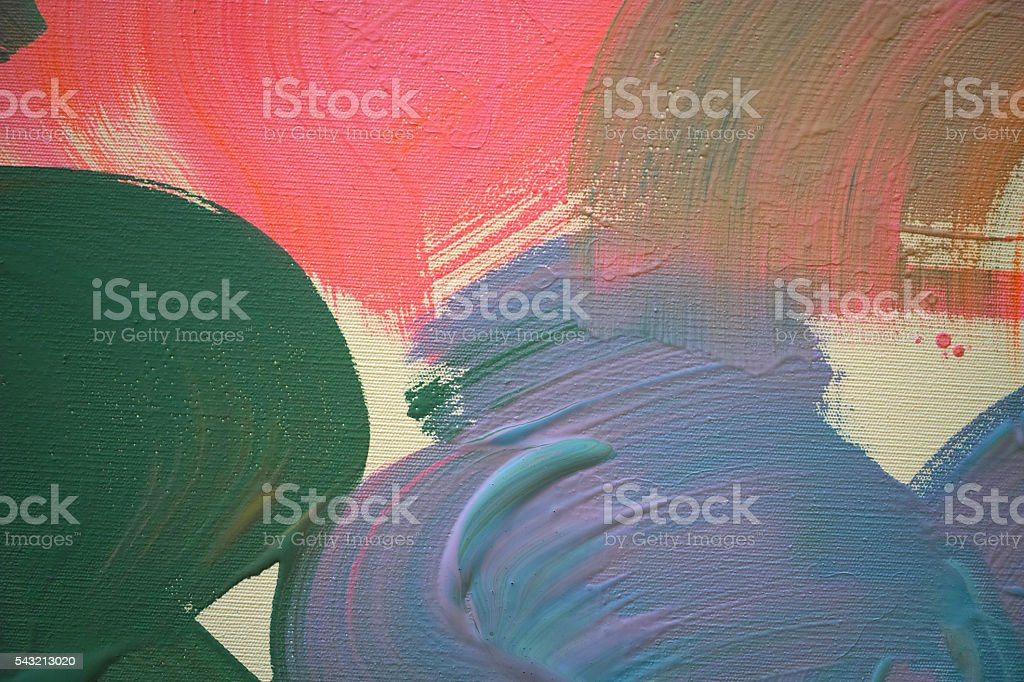 Pink Green Lilac Mixed Acrylic Colours Are Wet On Canvas stock photo