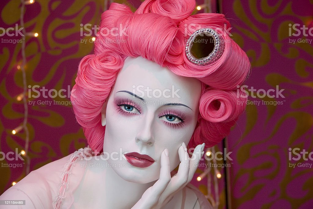 pink hair manequin stock photo