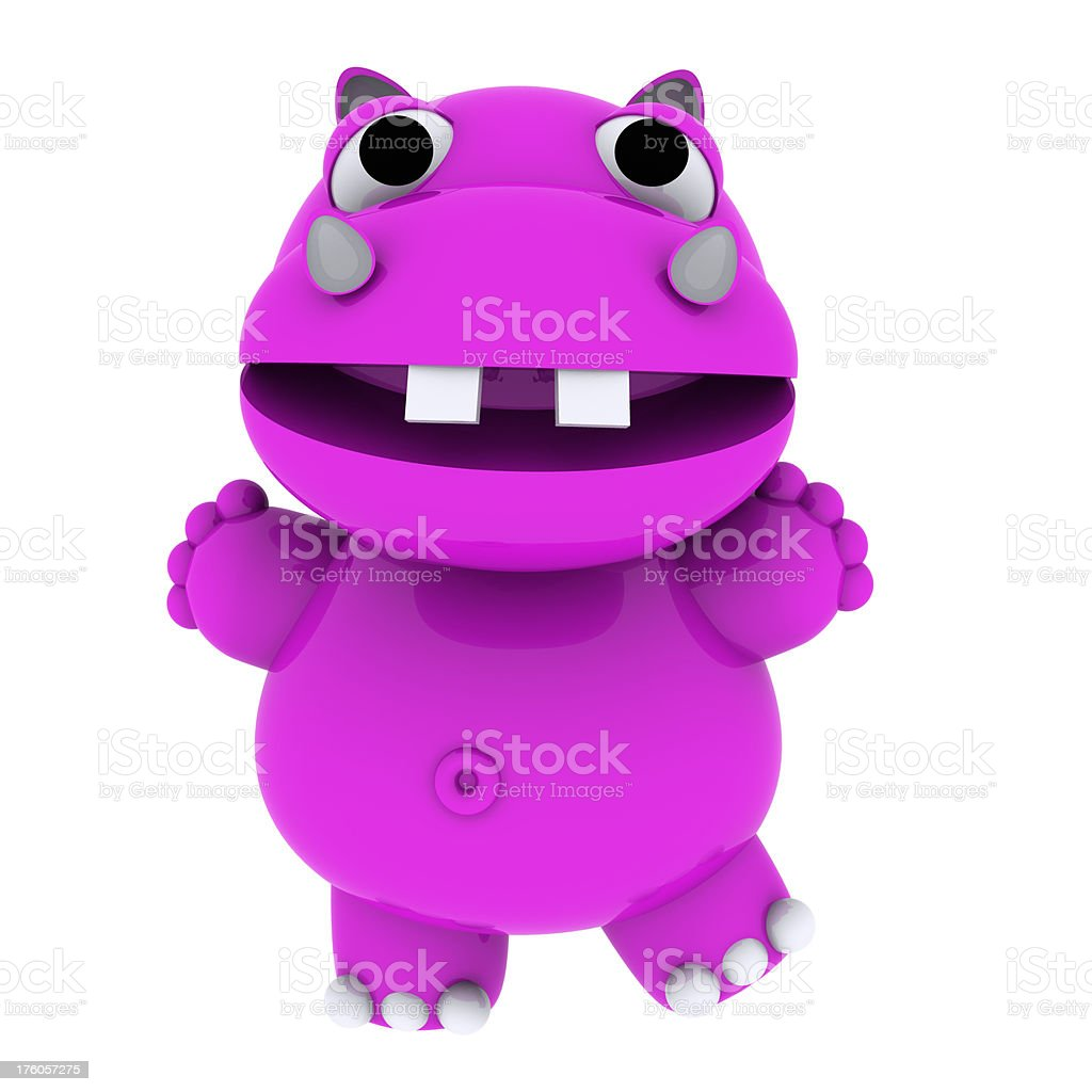 3D Pink Happy Hippo Character Dancing royalty-free stock photo