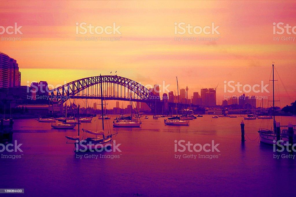 Pink Harbour Bridge View stock photo