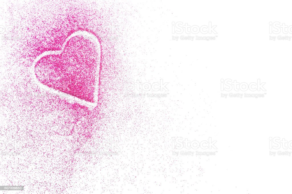 Pink heart in glitter with copy space stock photo