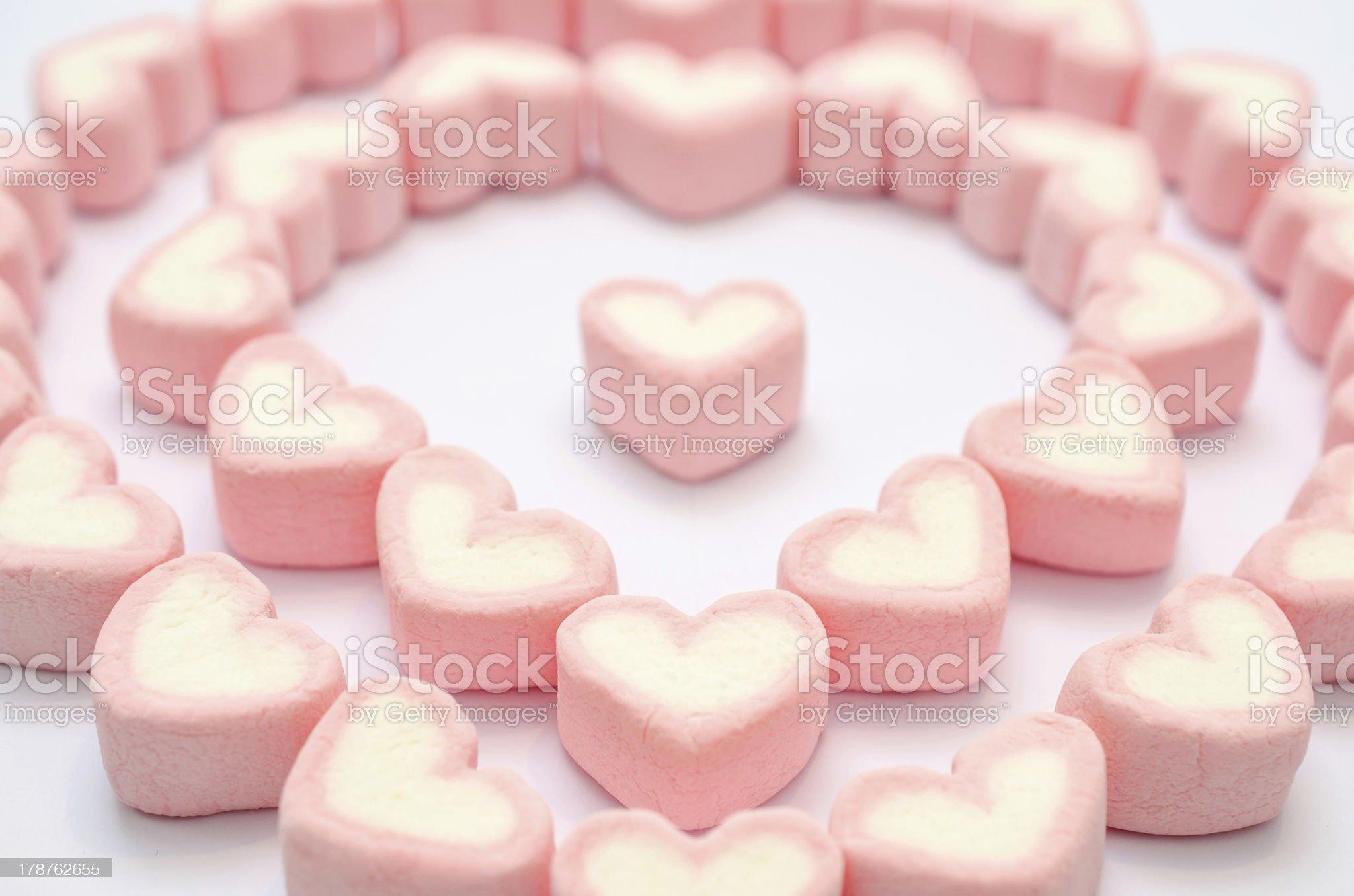 Pink heart marshmallow royalty-free stock photo
