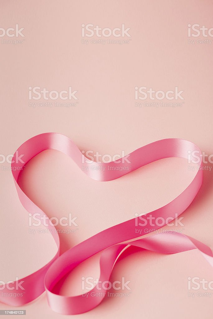 Pink heart shape ribbon royalty-free stock photo