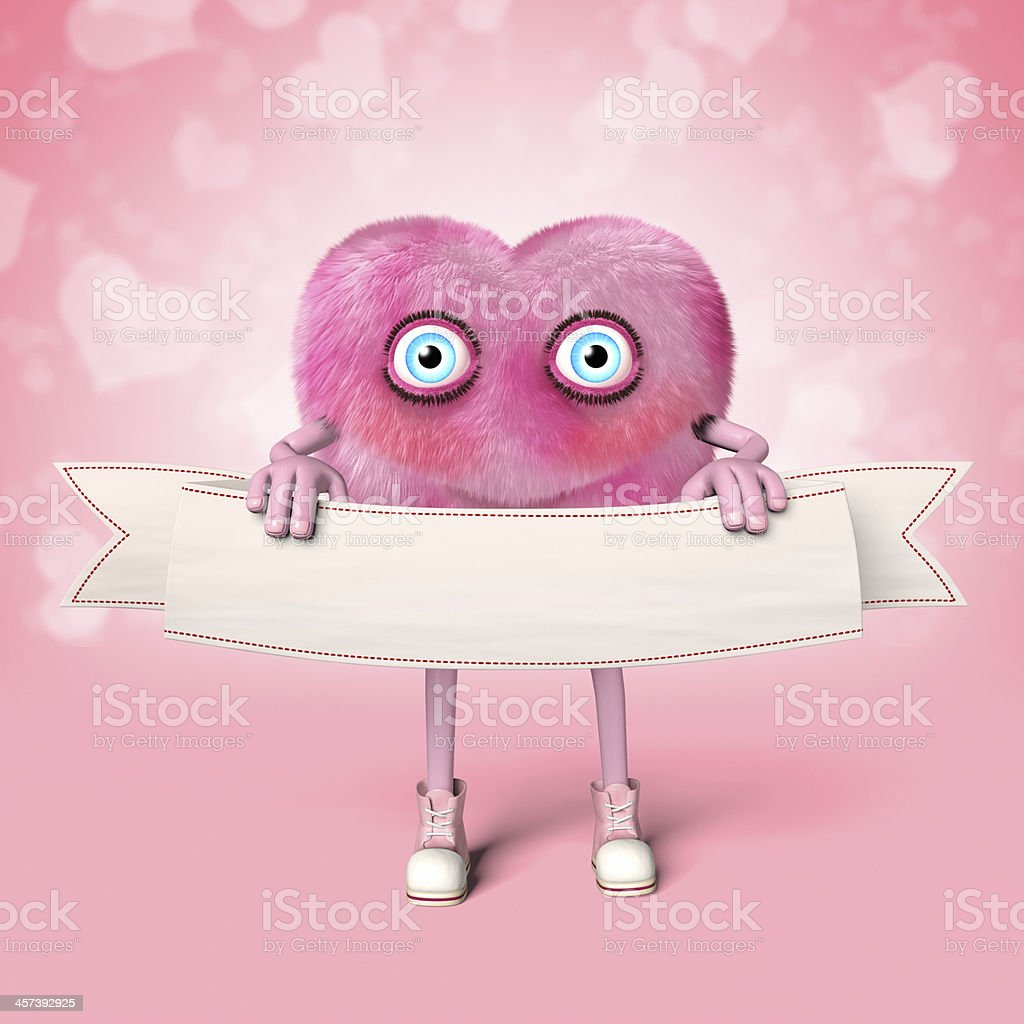 Pink heart shaped character holding an empty banner royalty-free stock photo