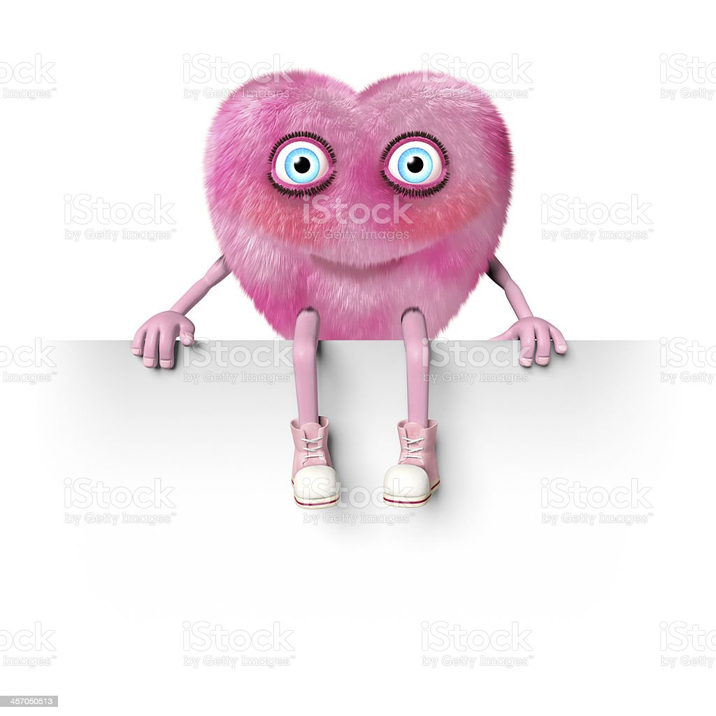 Pink heart shaped character sitting on an empty sign royalty-free stock photo