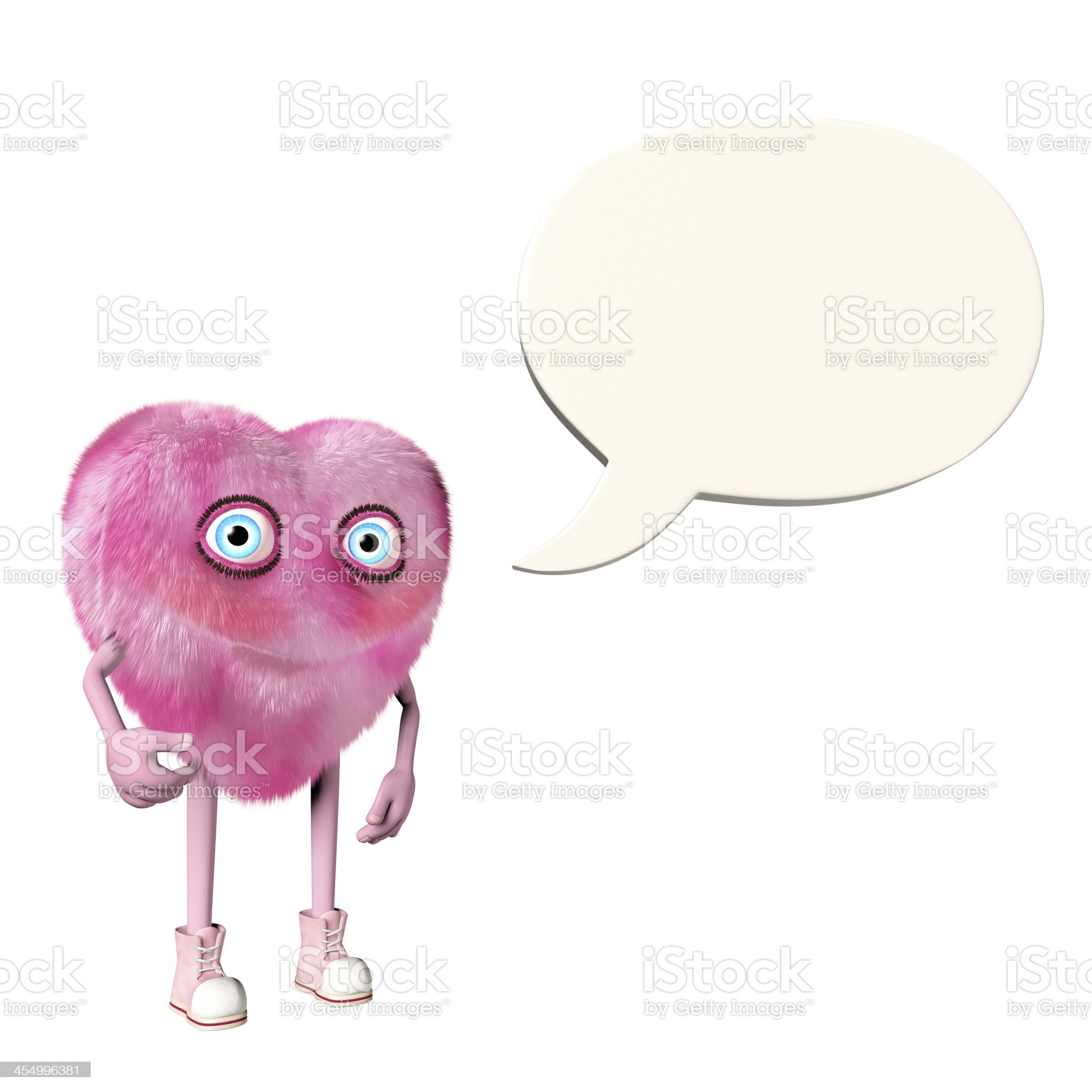Pink heart shaped character with an empty speech bubble royalty-free stock photo