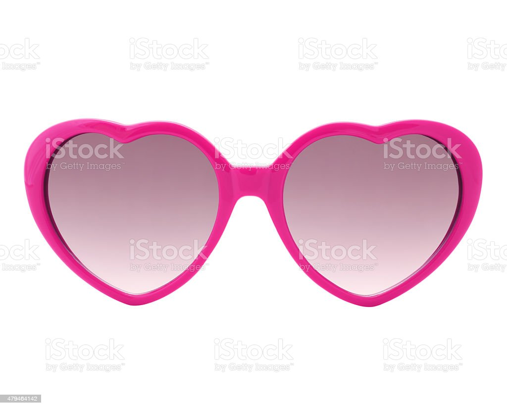 Pink heart shaped Sunglasses (with 2 paths) stock photo