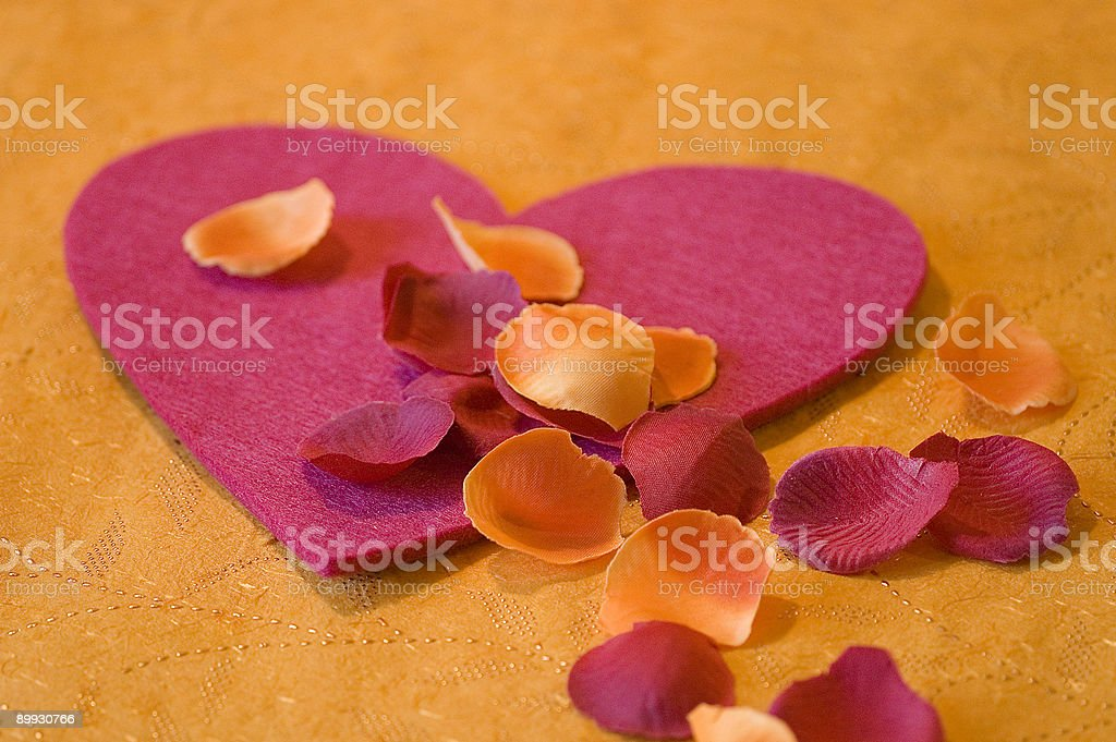 Pink heart with flowers stock photo