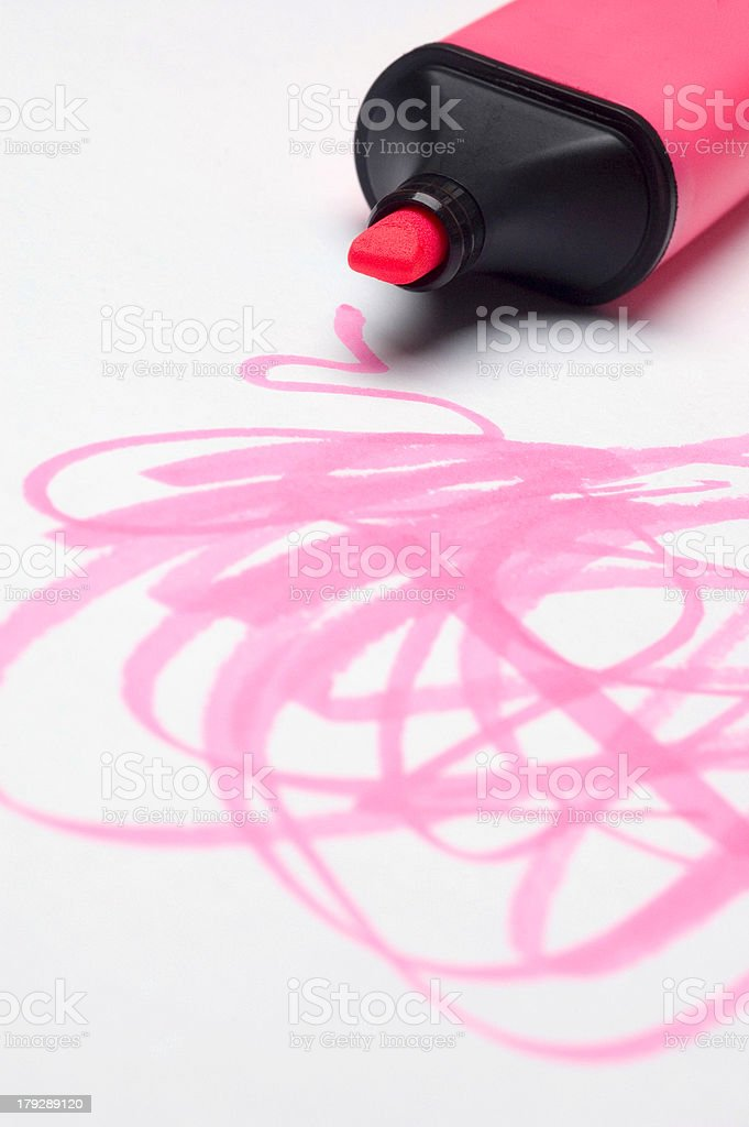 Pink Highlighter scribbles royalty-free stock photo