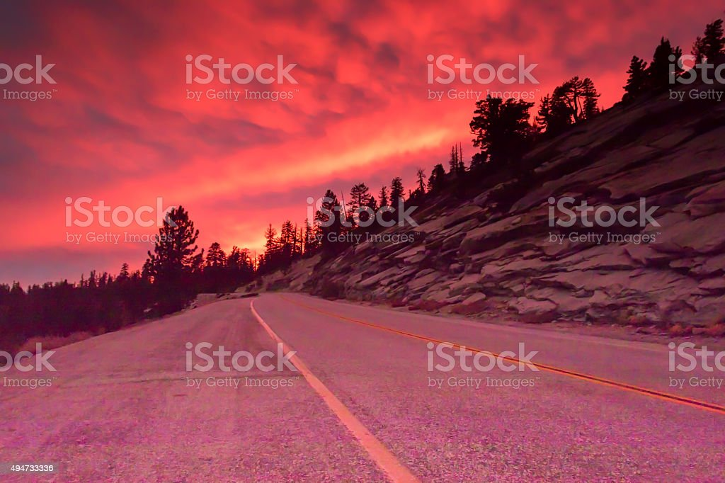 Pink Highway Sunset stock photo