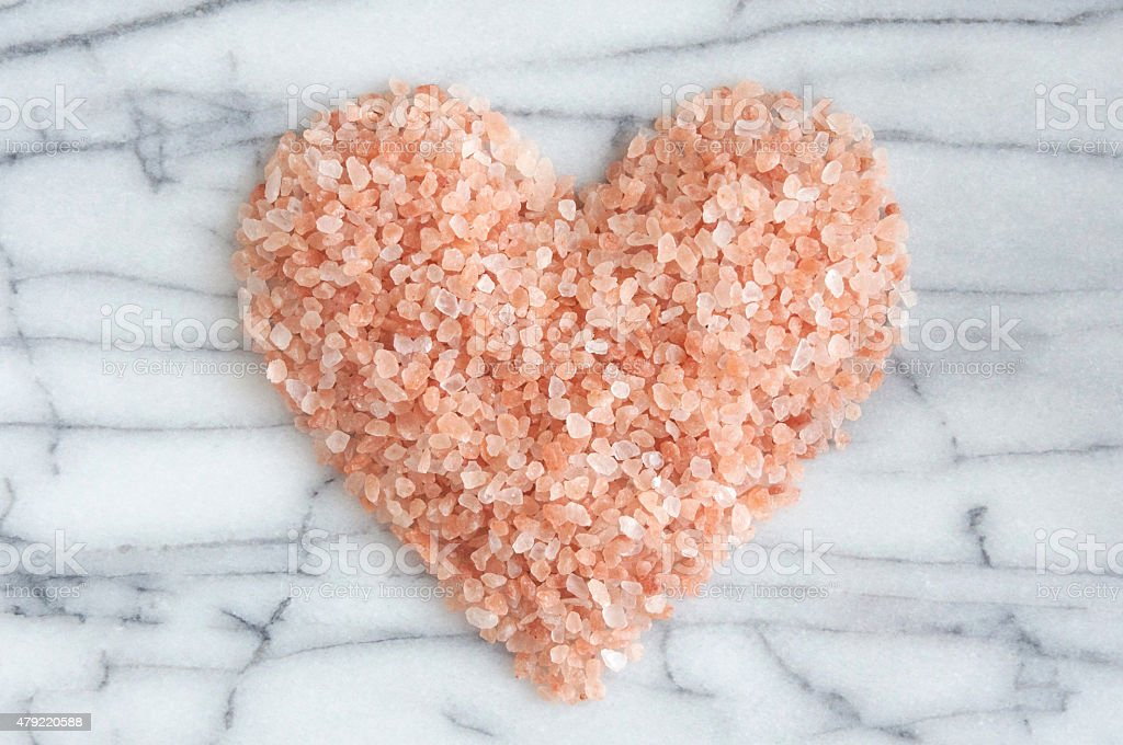 Pink Himalayan Rock Salt Heart stock photo