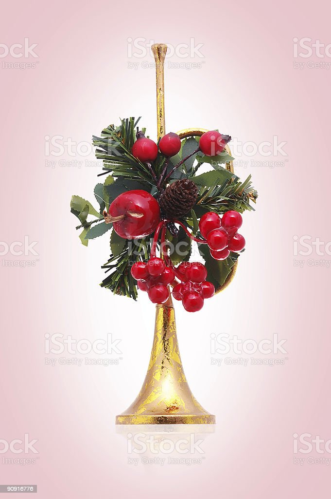 pink holiday trumpet decoration royalty-free stock photo