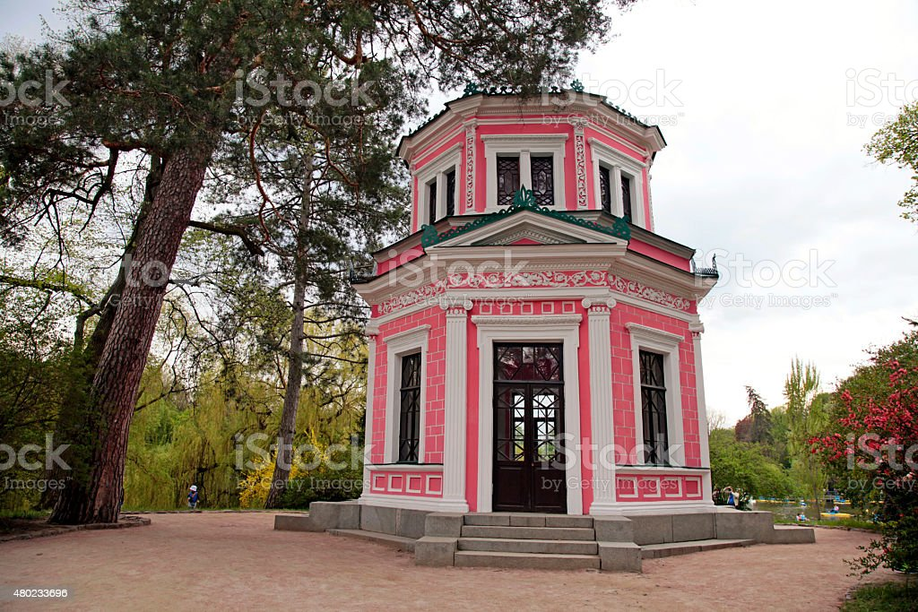 Pink house in Sofiyivsky Park in Uman, Ukraine stock photo