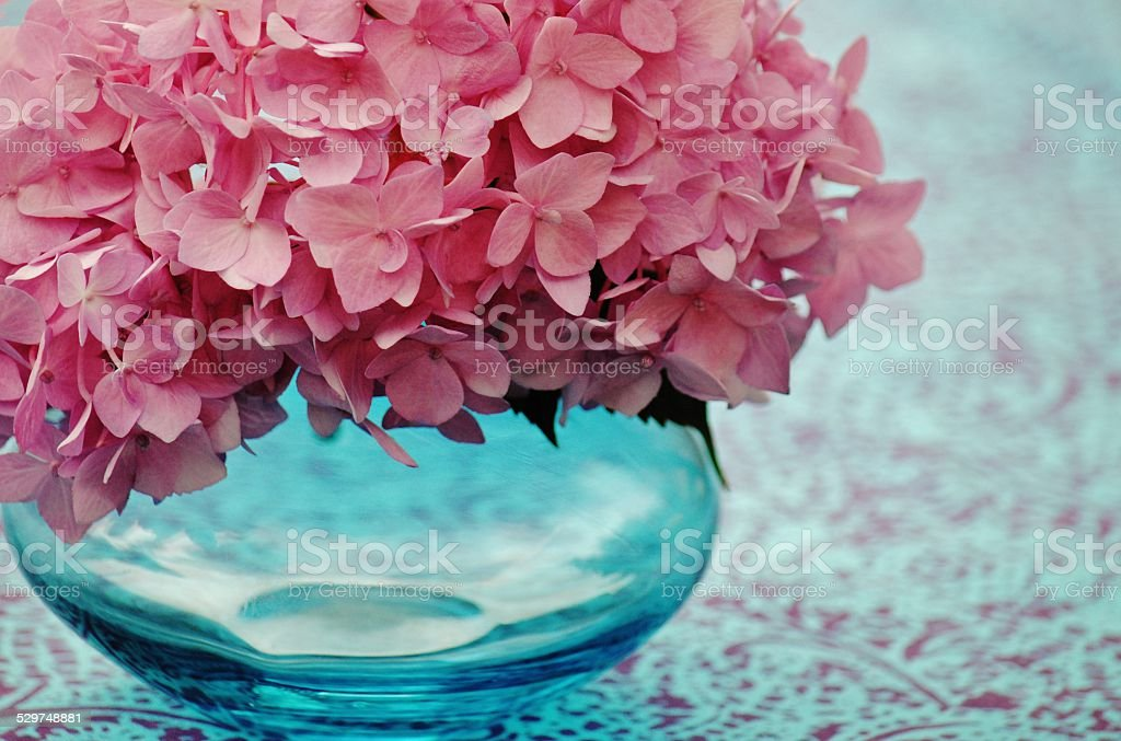 Pink Hydrangea In A Turqoise Vase stock photo