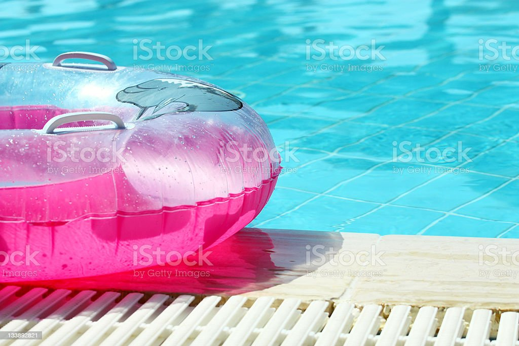 Pink inflatable round tube royalty-free stock photo