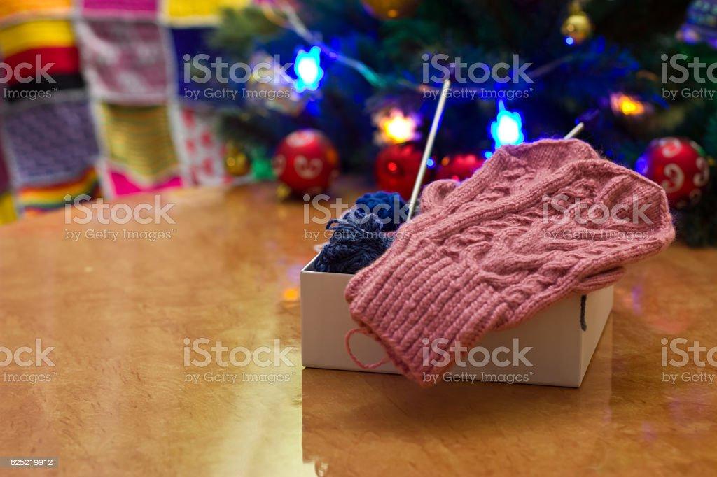 Pink knit mittens. stock photo