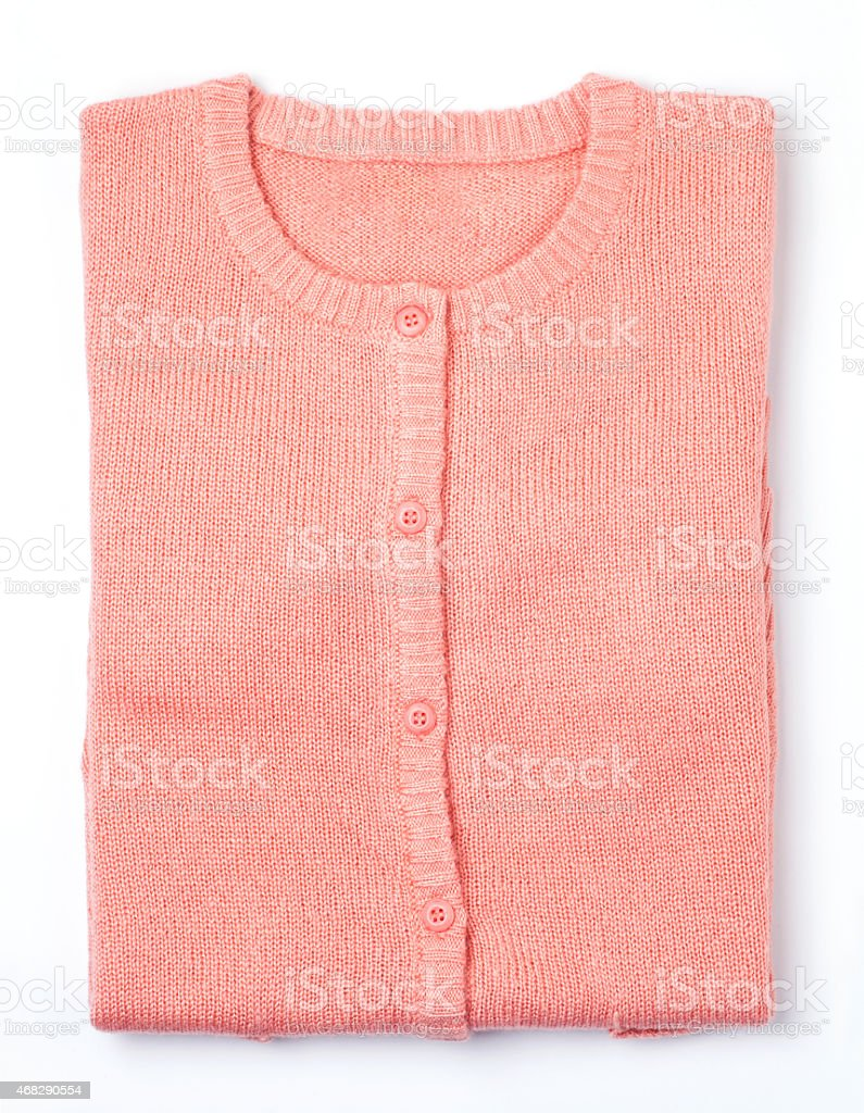 pink knit sweaters stock photo