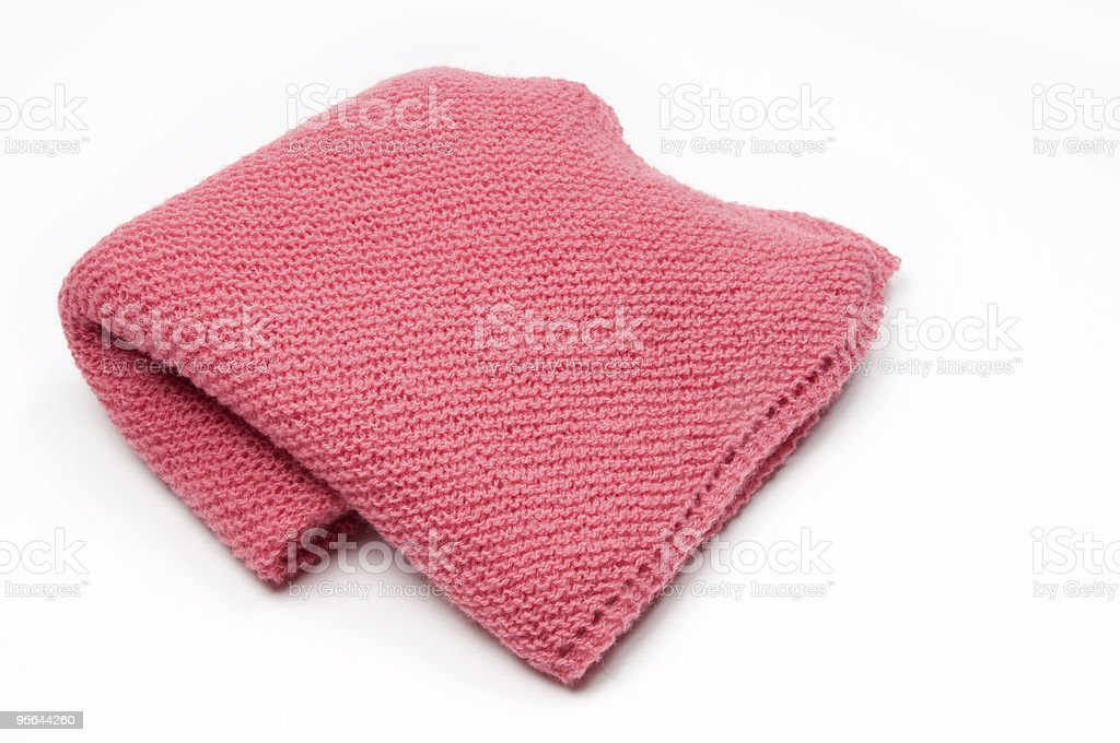 Pink Knitted Blanket stock photo