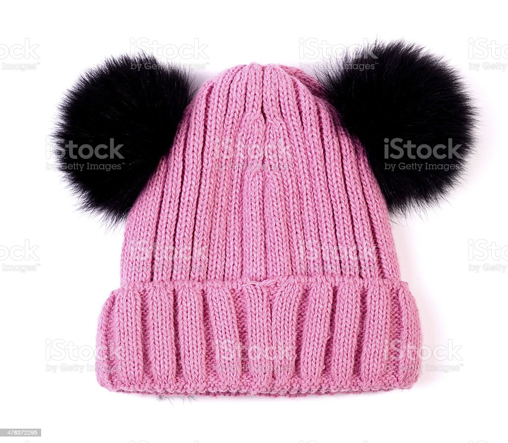 pink knitted wool children hat isolated royalty-free stock photo