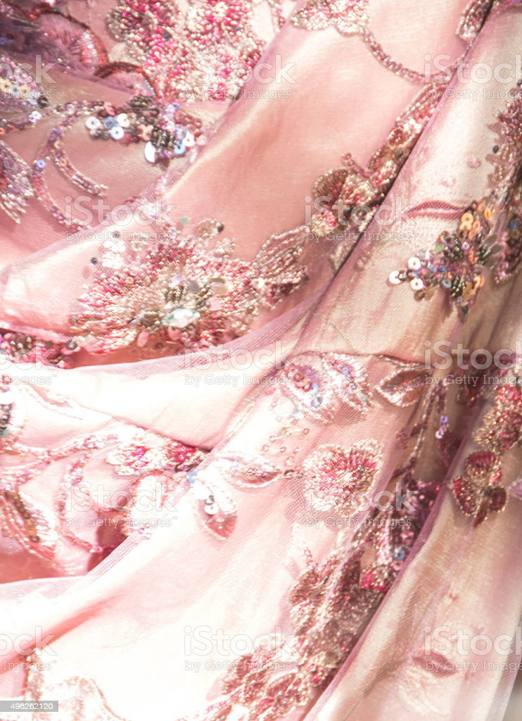 Pink lace with sequins, rhinestones and glitter stock photo