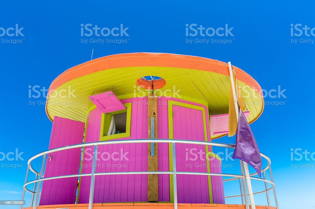 Pink lifeguard house in Miami Beach, Florida, USA stock photo