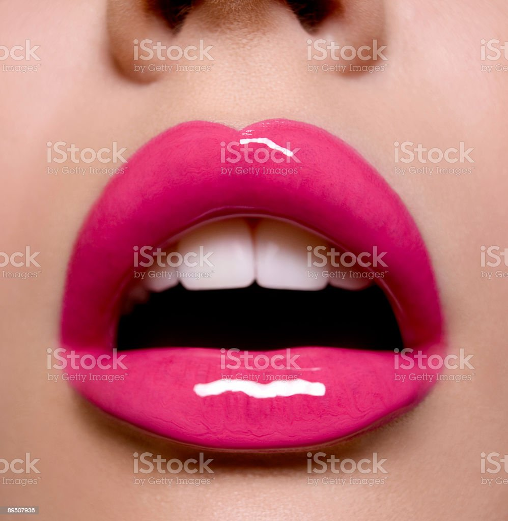 pink lips stock photo