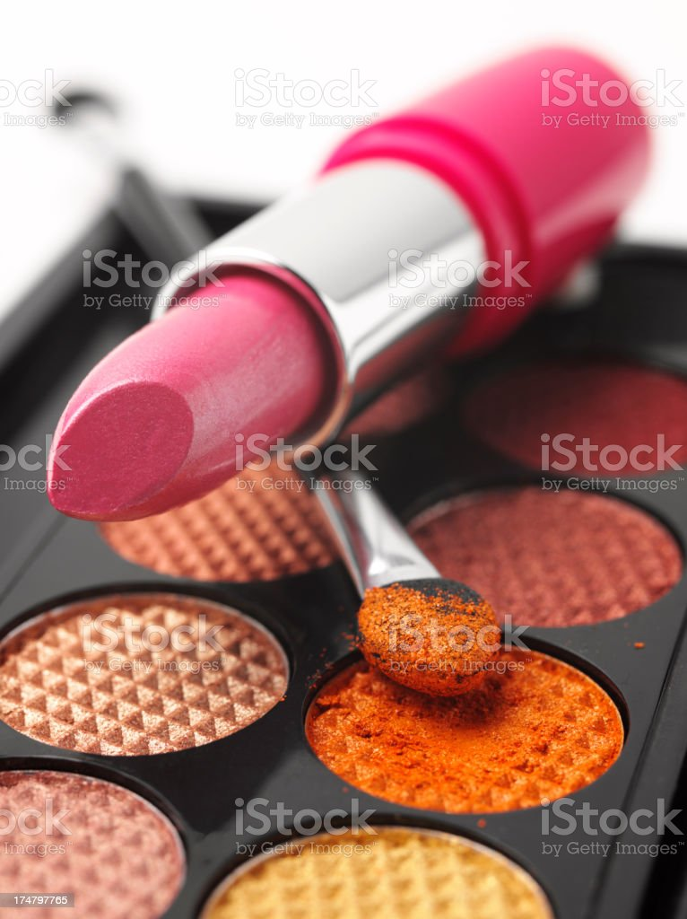 Pink Lipstick and Coloured Eye Makeup royalty-free stock photo