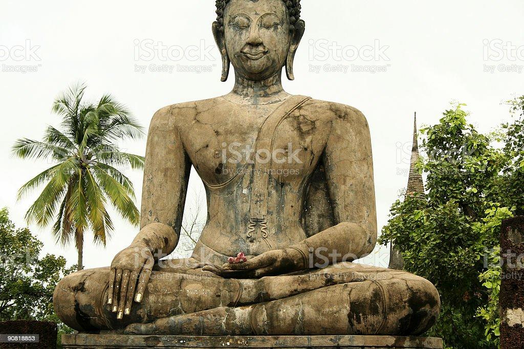 pink lotus seated buddha sukothai stock photo