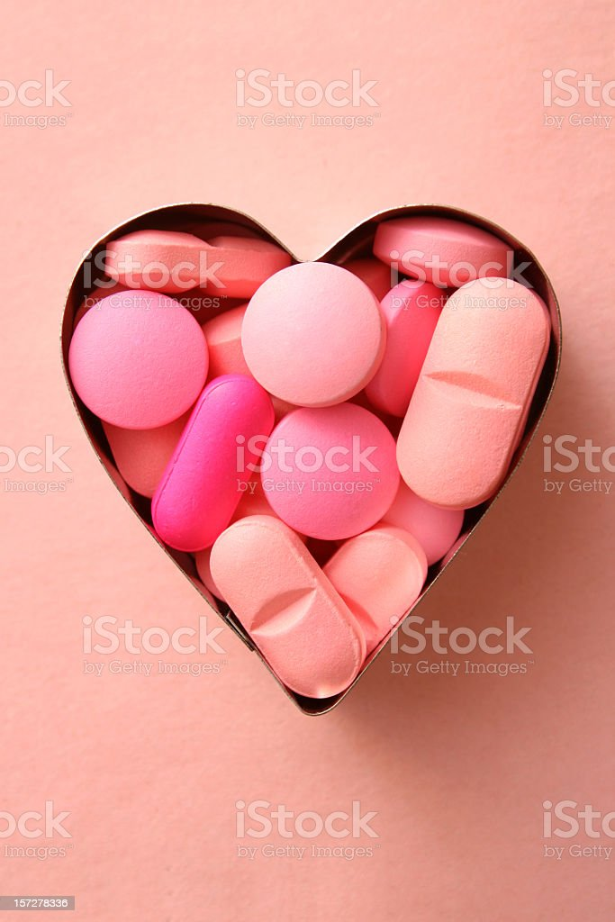 Pink loving pills stock photo