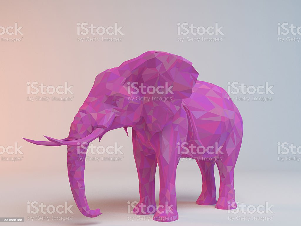 3D pink low poly (Elephant) stock photo
