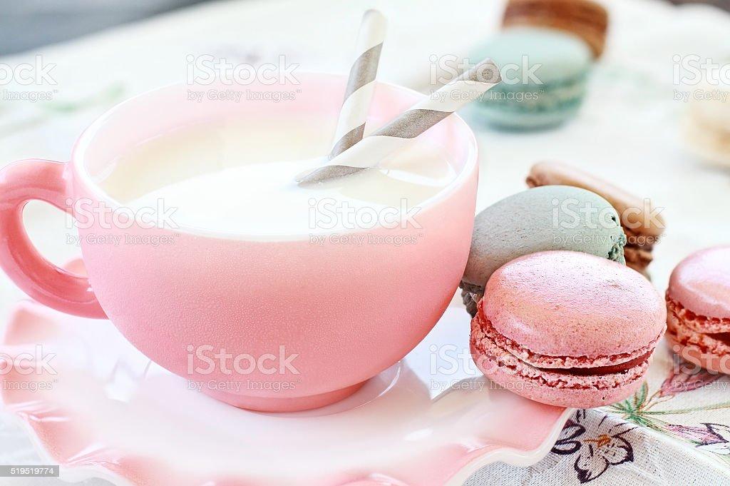Pink Macarons and Milk stock photo