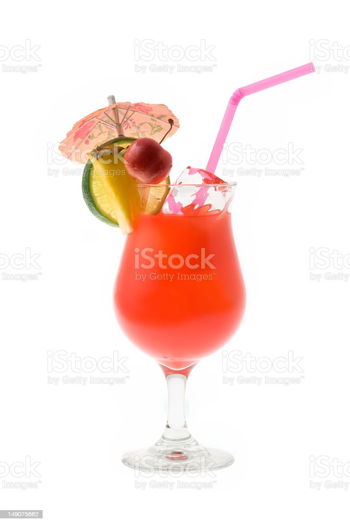 A pink Mai tai cocktail with an umbrella and fruit stock photo