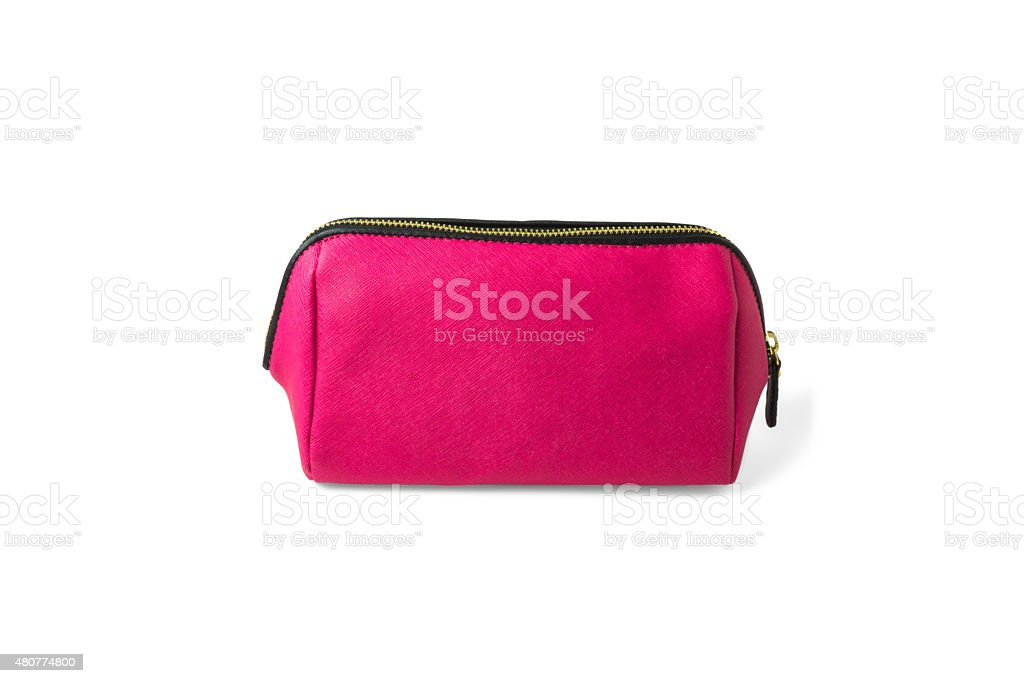 pink make-up bag isolated on white background stock photo