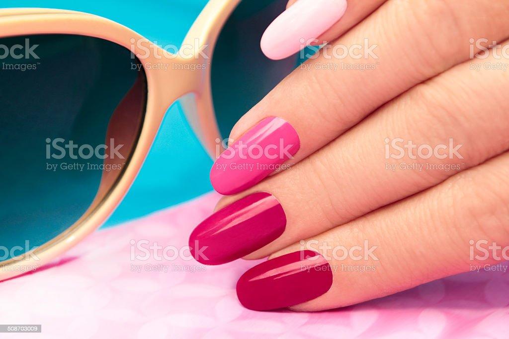Pink manicure. stock photo